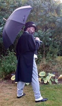 Steampunk man with umbrella Penguin 4 STOCK