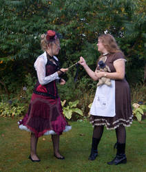 Steampunk Alice vs Queen of HEarts STOCK by Cyan-stock