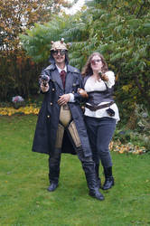 Steampunk bounty hunters front couple