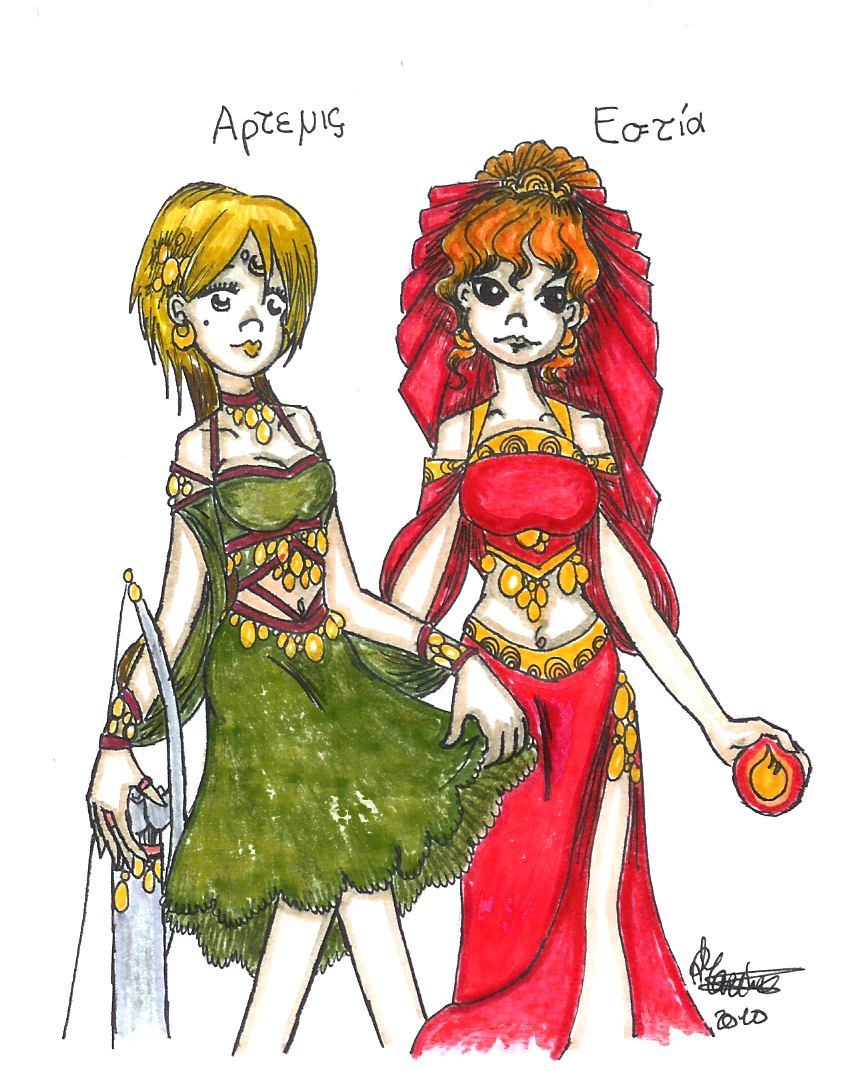 Olympus - Artemis and Hestia by Iris-Yukimihime