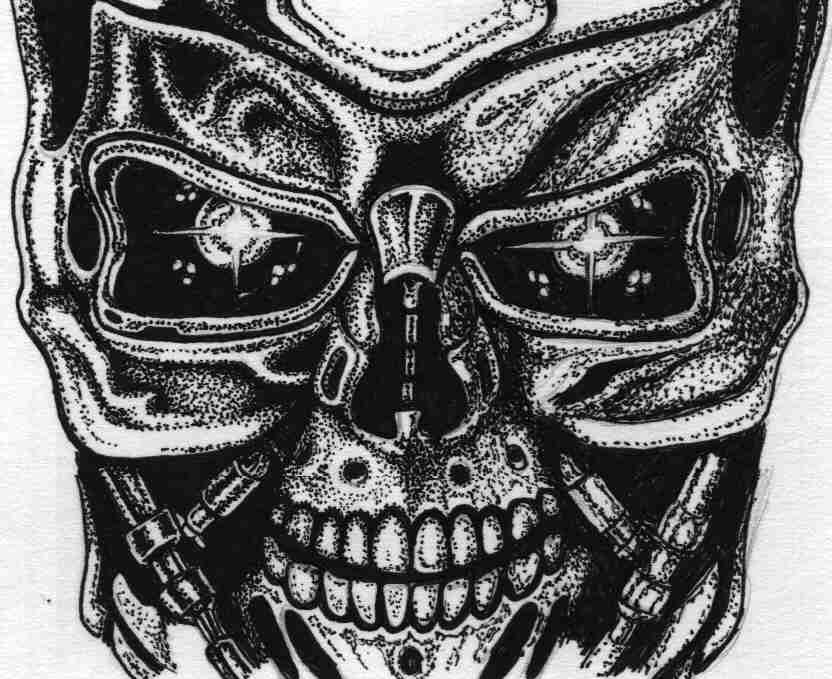 the gallery for terminator skull drawing. Black Bedroom Furniture Sets. Home Design Ideas