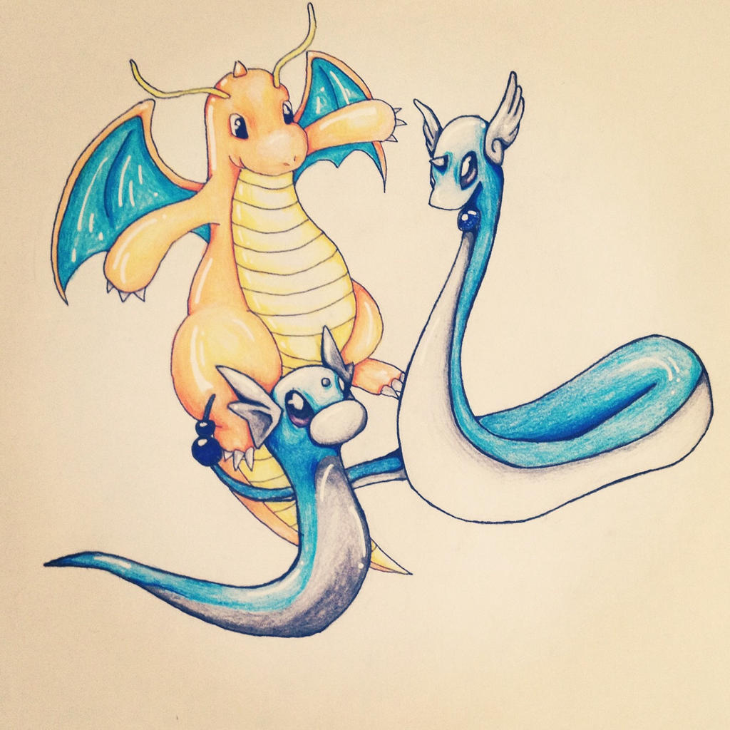 Pokemon ~ Dratini | Dragonair | Dragonite by Aimss-Art on ...  Pokemon ~ Drati...