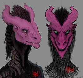 Pink Dragon messing with brushes