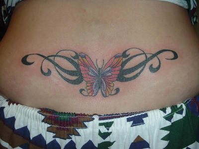 Lower Back Butterfly Tattoo