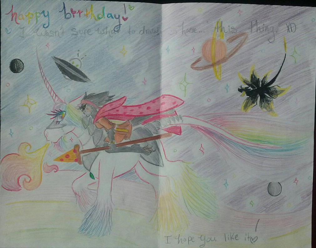 Nyan pizza cat riding a unicorn through spaaace! by WhimsiKitty