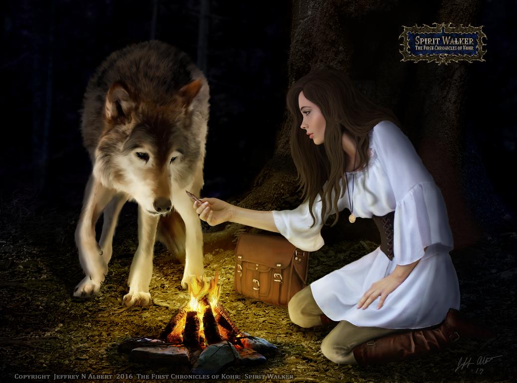 Spirit Walker - LeAren and the Wolf by Khellaran