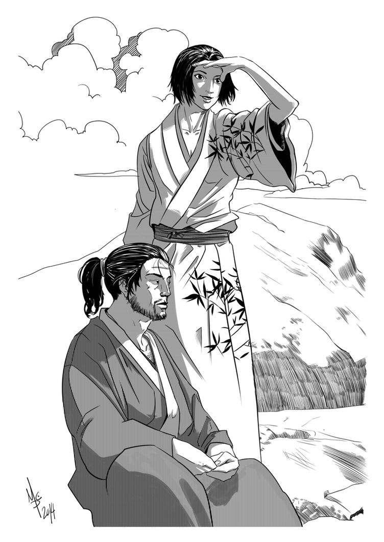Vagabond Fanart - Takezo and Otsu by 93Hotaru