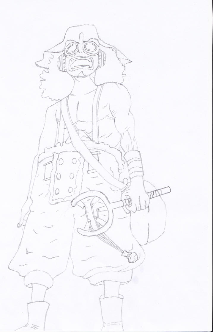 Line Art Year 2 : Usopp years later line drawing by yellowpikmin on