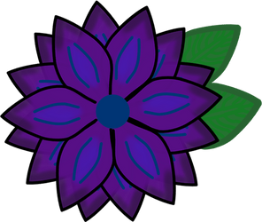 Purple Flower w/ leaves by SnowyAshCat