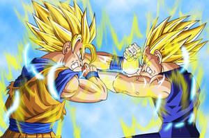 Goku and Majin Vegeta by Alvc57