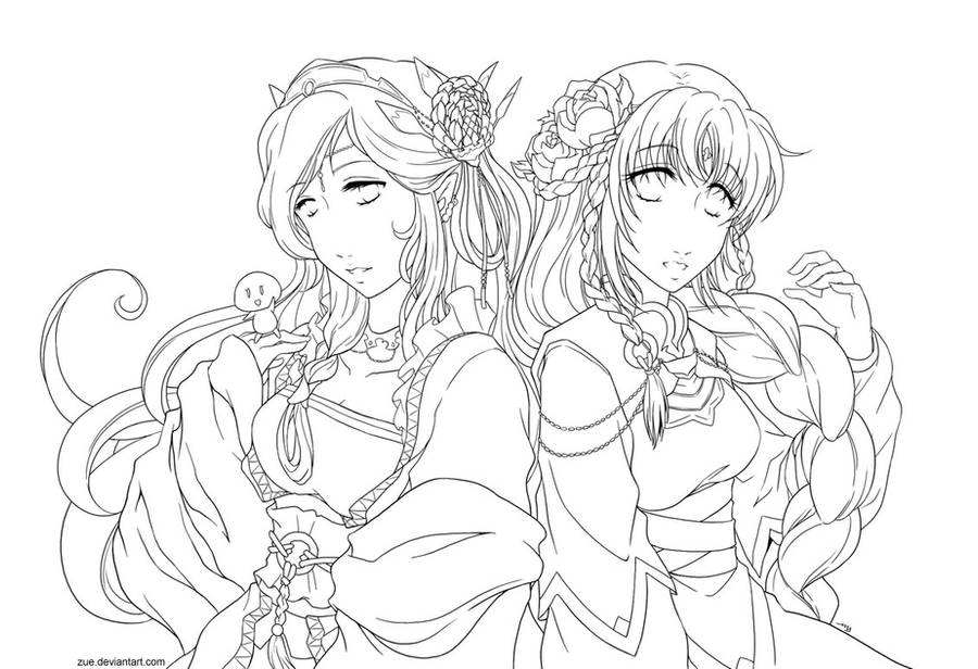 Lineart : Ophelia + Jia by Zue