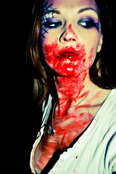 Halloween makeup with blood by M00N-flower on DeviantArt