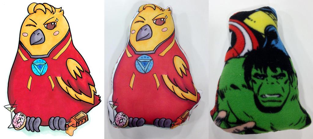 Etsy: Avengers Iron Man Tony Stark Bird Pillow by VineyardElf