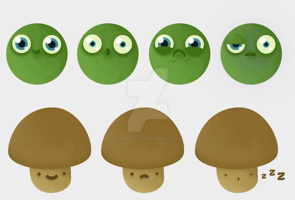 Characterconcept Pea and Mushroom by PinkAxolotl