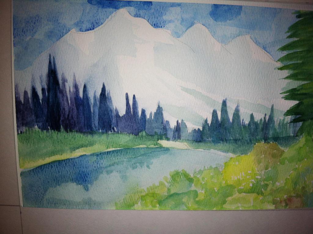 how to hand colour a landscape plan with colou pencils