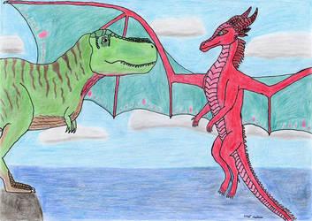 Dragon Queen meets Tyrant Lizard King