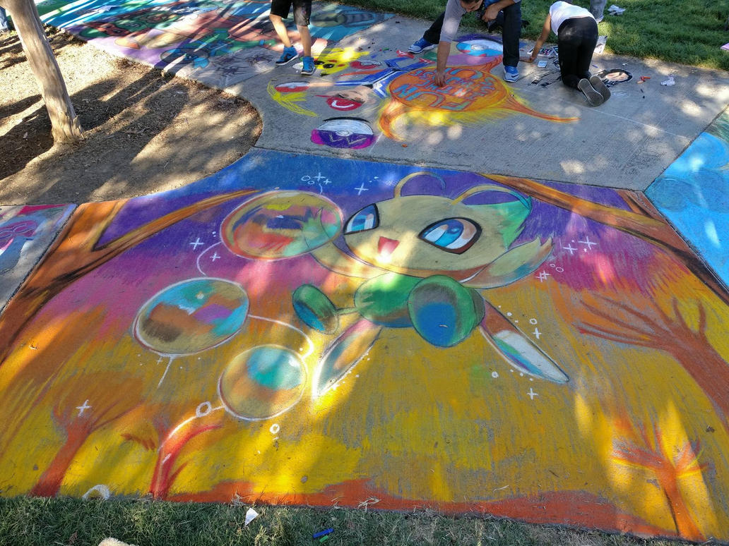 Celebi Chalk Art by Isucklikehell