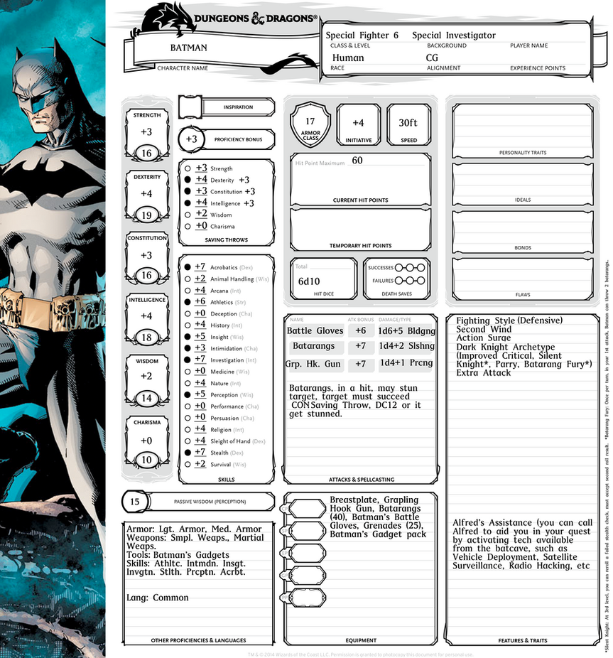Batman Character Sheet DnD 5e by envidia14