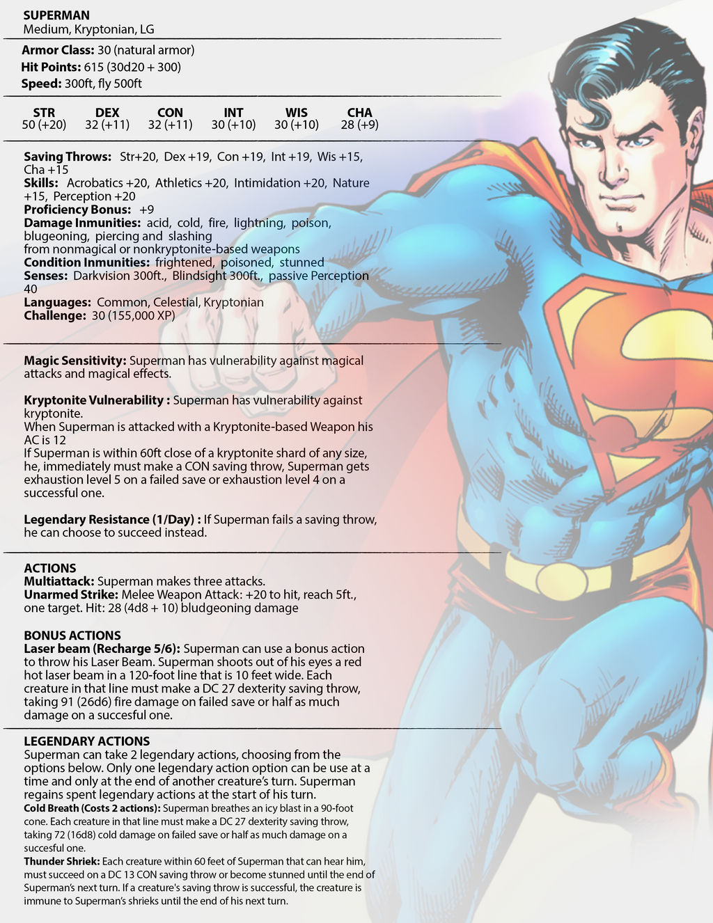 Superman Stats for DnD 5e