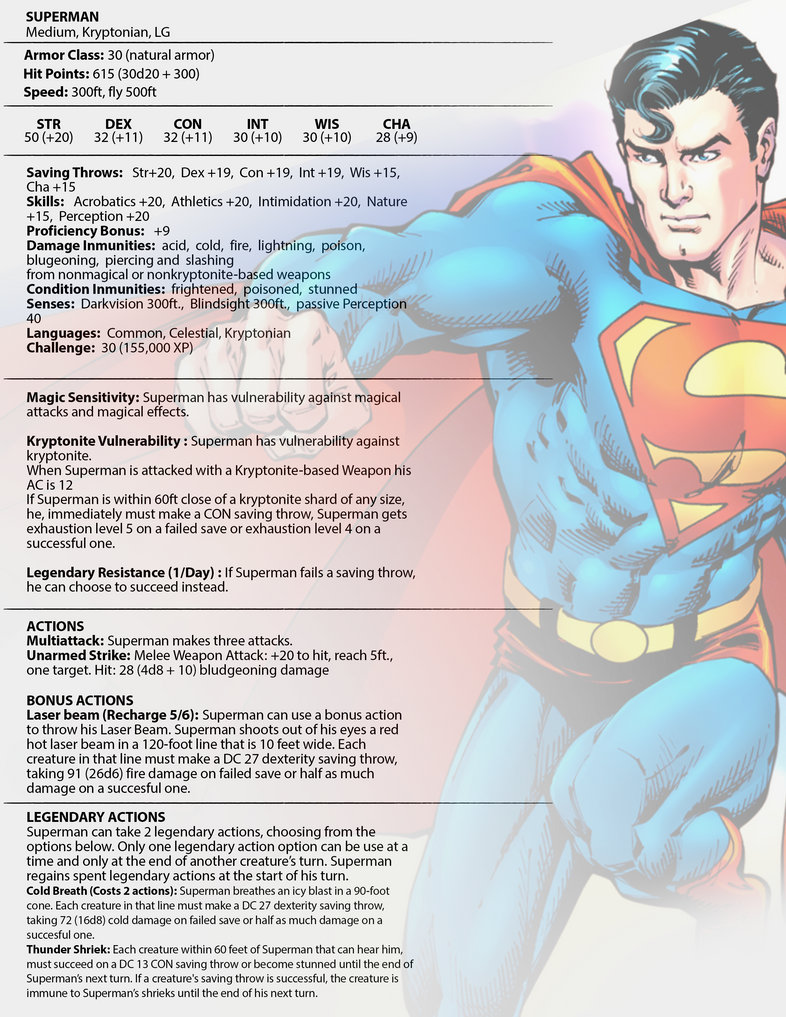Superman Stats for DnD 5e by envidia14