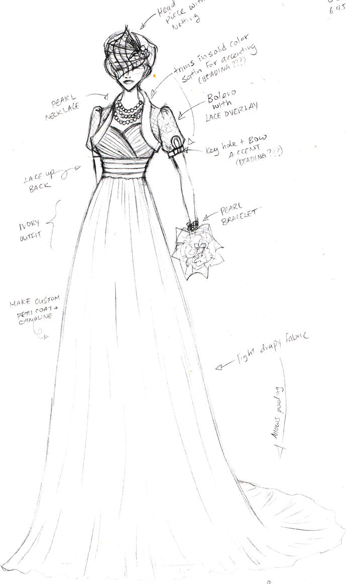 sketch wedding gown 2 by shushuwafflez on DeviantArt