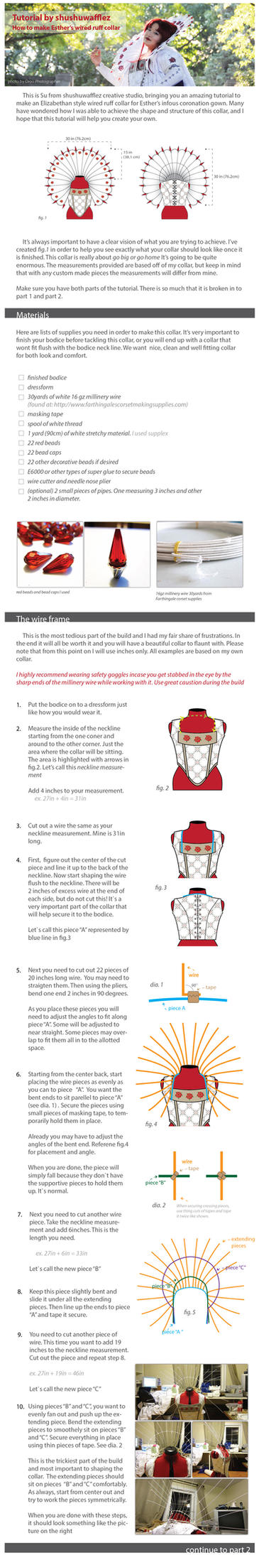Esther Elizabethan wired ruff collar tutorial pt.1 by shushuwafflez