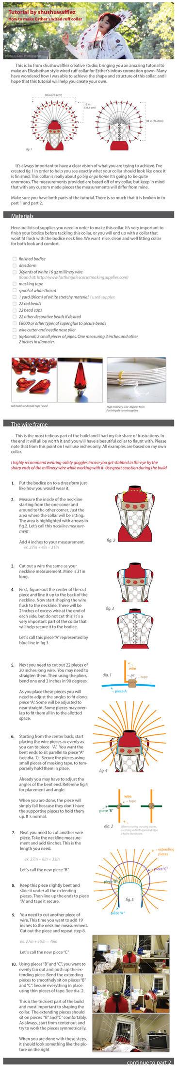 Esther Elizabethan wired ruff collar tutorial pt.1 by shushuwafflez