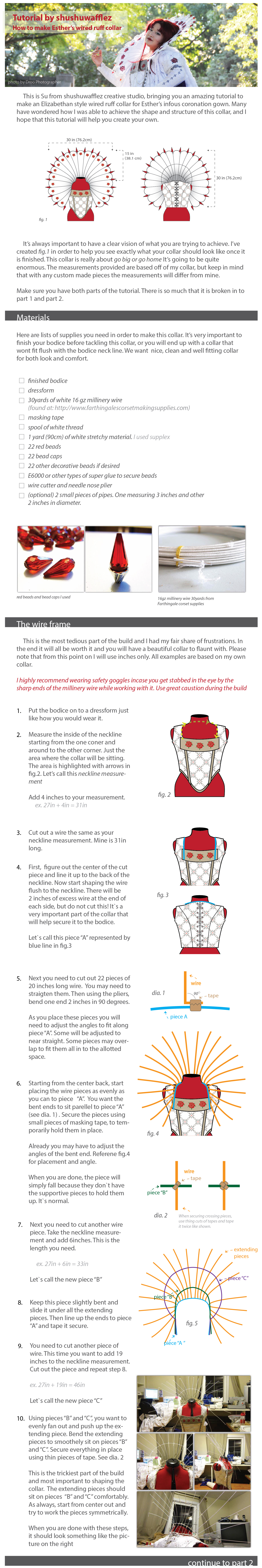 Esther Elizabethan wired ruff collar tutorial pt.1