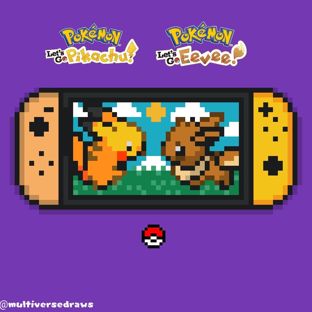 Pokemon Let S Go Pikachu Eevee Pixel Art By Multiversedraws On Deviantart