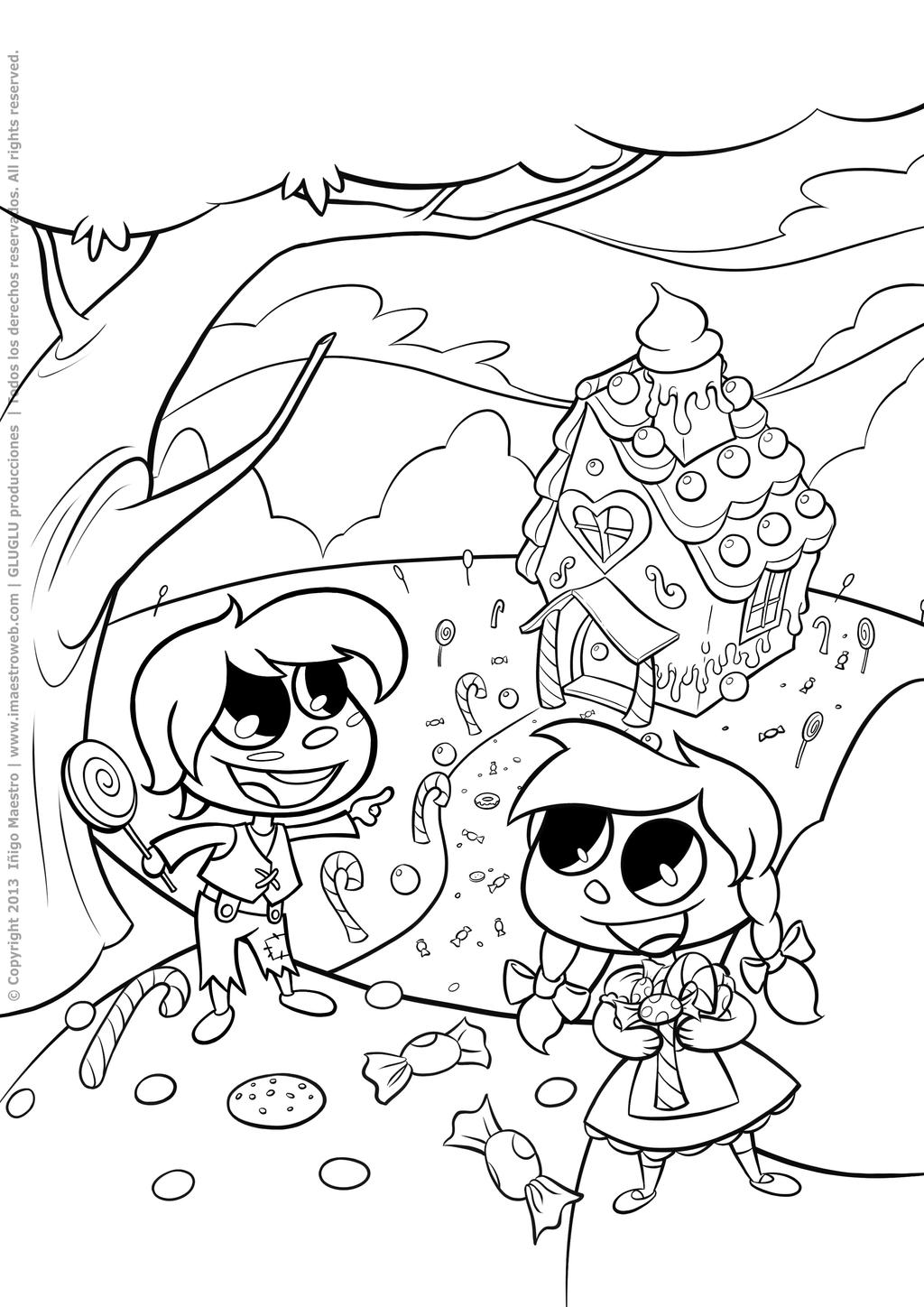 ''Hansel and Gretel'' line art (2013) by Batliebre