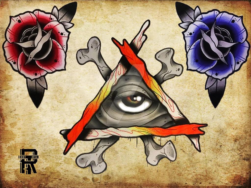 New school tattoo design - All Seeing Eye Roses New School Tattoo Flash By Poohbear Rebellion
