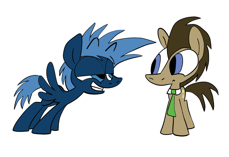 Discord Whooves And Captain Jack The Doctor and Jack Ponified
