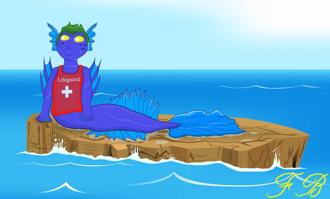 Mer-lifeguard on duty