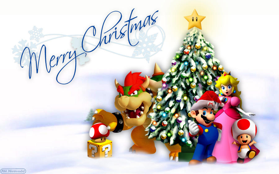 mario merry christmas   wide by alenintendo d4j65b1