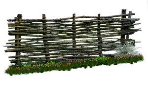Weaved Wooden Fence PNG..