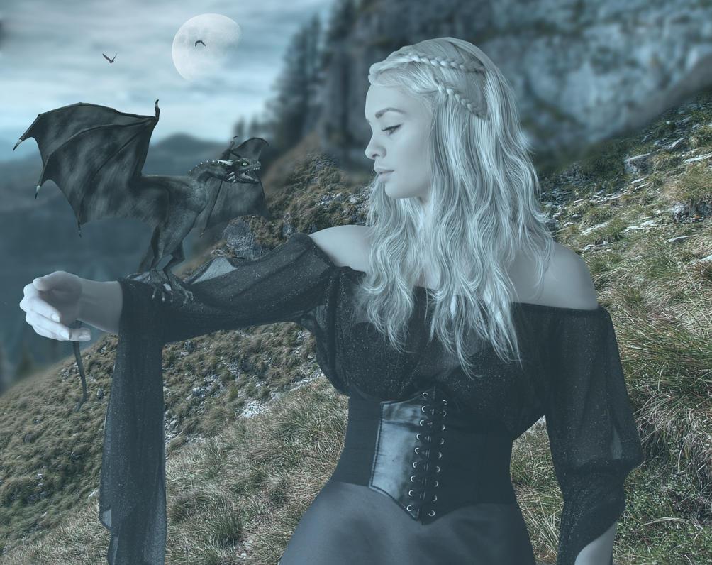 Khaleesi and the dragon.. by AledJonesStockNArt