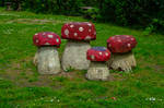 Wooden Toadstools Stock May 2016..