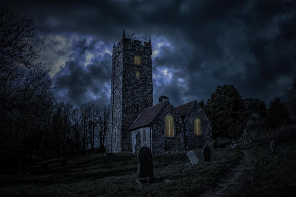 Spooky Churchyard Premade.. by AledJonesStockNArt