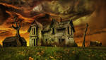 Old Haunted Farmhouse.. by AledJonesDigitalArt