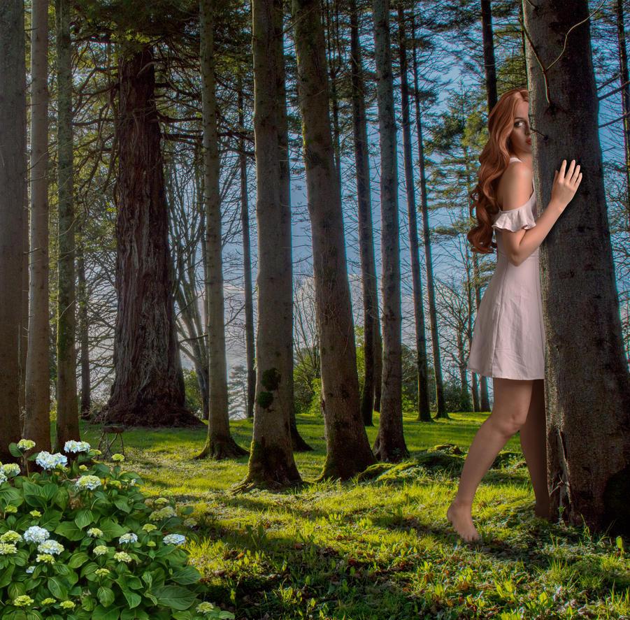 Tia in the Trees.. by AledJonesStockNArt