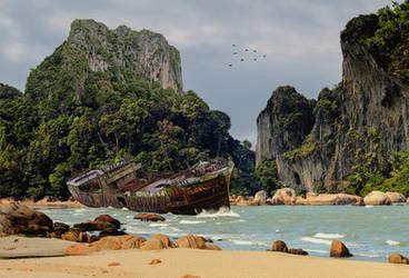 Shipwreck.. by AledJonesDigitalArt