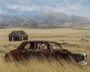 Rusty Old Car.. by AledJonesDigitalArt