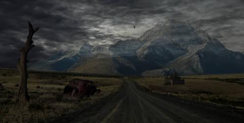 Spooky Road.. by AledJonesDigitalArt