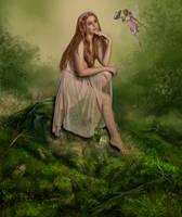 Fae and the Butterfly.. by AledJonesDigitalArt