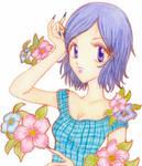Izumi con flores