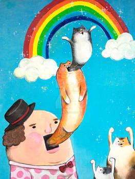 Rainbow Cat Celebration