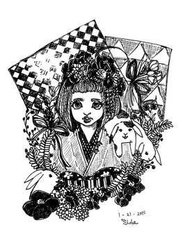Kimono and Rabbits