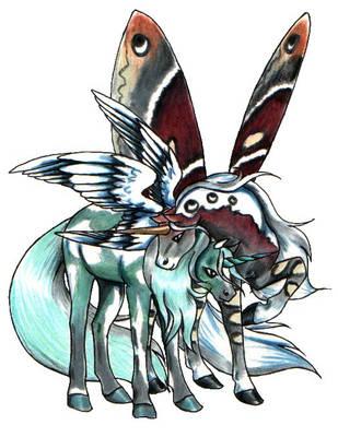 Painted Unicorn Pair by SilvanonOfTheOrchard