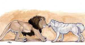Lionroo and WhiteWolf by ebonytigress