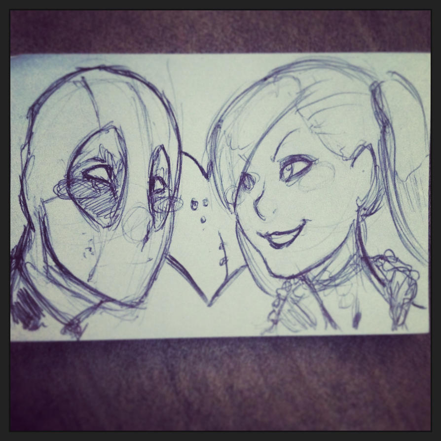 Deadpool and harley by Maroonz80